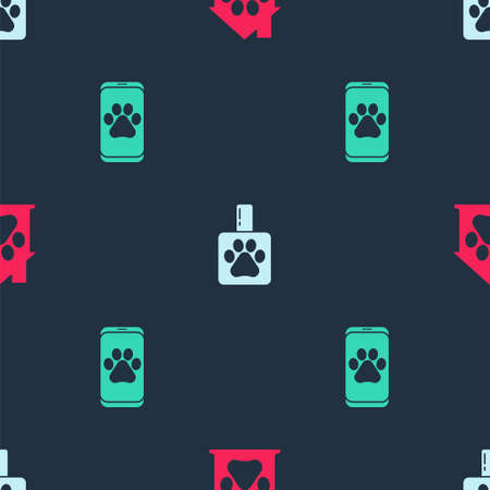 Set Pet house, shampoo and Veterinary clinic on seamless pattern. Vector