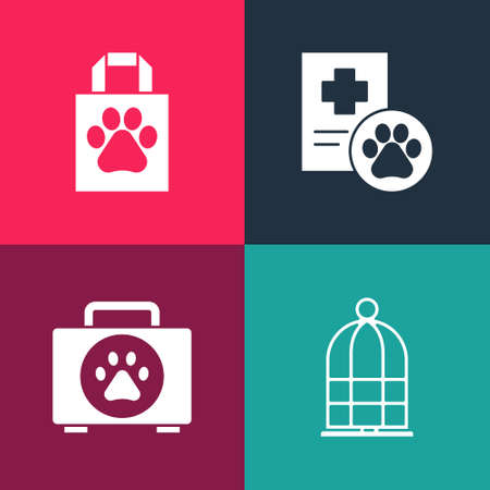 Set pop art Cage for birds, Pet first aid kit, Clinical record pet and Shopping bag icon. Vector