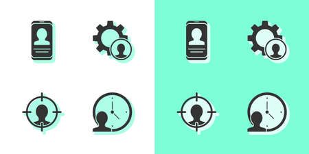 Set Time Management, Mobile with resume, Head hunting and icon. Vector