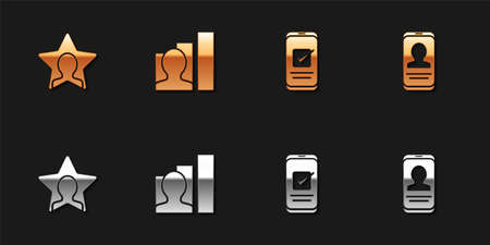 Set Head hunting, Productive human, Smartphone and Mobile with resume icon. Vector