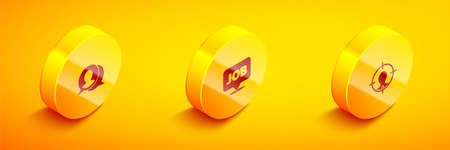 Set Isometric Speech bubble chat, with job and Head hunting icon. Vector
