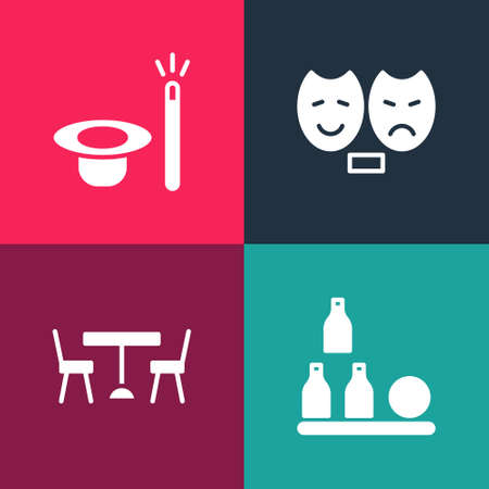 Set pop art Bottles ball, Picnic table with chairs, Comedy and tragedy masks and Magic hat wand icon. Vector