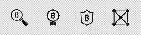 Set Magnifying glass with Bitcoin, Shield bitcoin and Blockchain technology icon. Vector