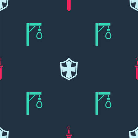 Set Medieval sword, Shield and Gallows on seamless pattern. Vector