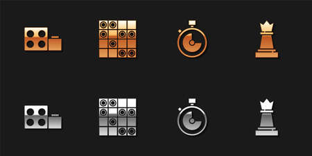 Set Toy building block bricks, Board game of checkers, Stopwatch and Chess icon. Vector