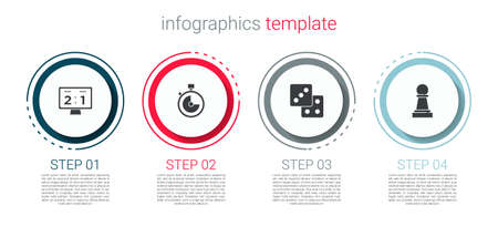 Set Sport mechanical scoreboard, Stopwatch, Game dice and Chess. Business infographic template. Vector