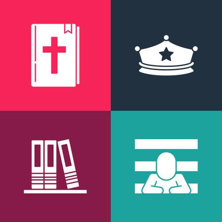 Set pop art Prisoner, Office folders, Police cap with cockade and Holy bible book icon. Vector Ilustración de vector