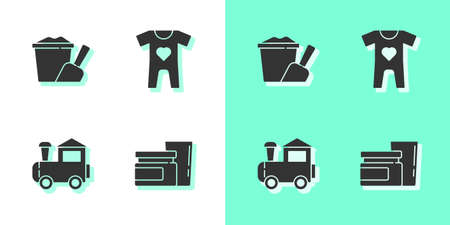 Set Baby food, Sand in bucket with shovel, Toy train and clothes icon. Vector