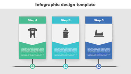 Set Baby clothes, bottle and potty. Business infographic template. Vector 向量圖像