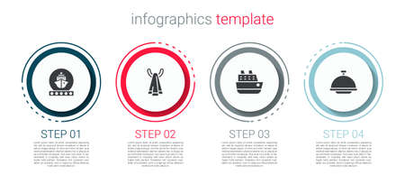 Set Cruise ship, Towel on a hanger, and Covered with tray. Business infographic template. Vector