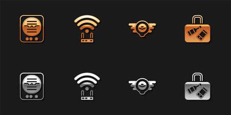 Set Attitude indicator, Router and wifi signal, Aviation emblem and Suitcase icon. Vector