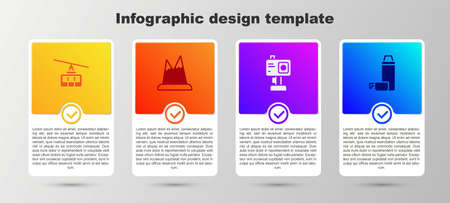 Set Cable car, Mountains, Action camera and  container. Business infographic template. Vector