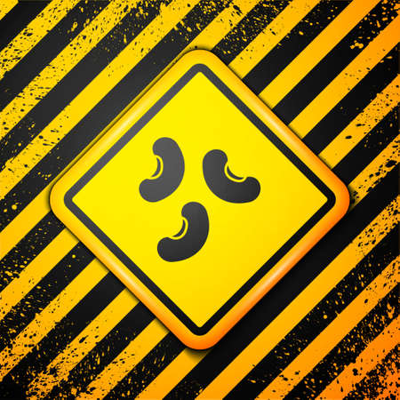 Black Beans icon isolated on yellow background. Warning sign. Vector