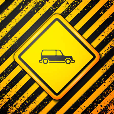 Black Hearse car icon isolated on yellow background. Warning sign. Vector