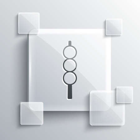 Grey Meatballs on wooden stick icon isolated on grey background. Skewer with meat. Square glass panels. Vector