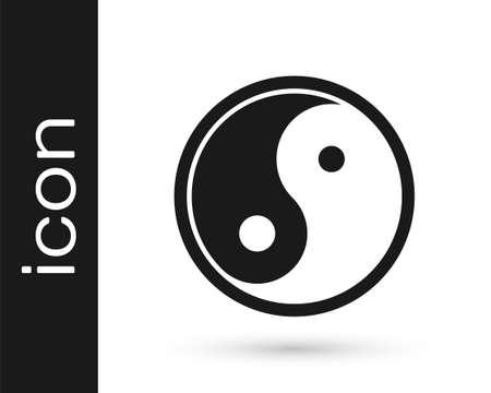 Black Yin Yang symbol of harmony and balance icon isolated on white background. Vector