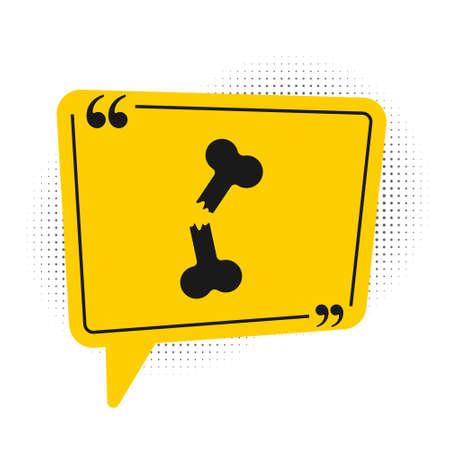 Black Human broken bone icon isolated on white background. Yellow speech bubble symbol. Vector