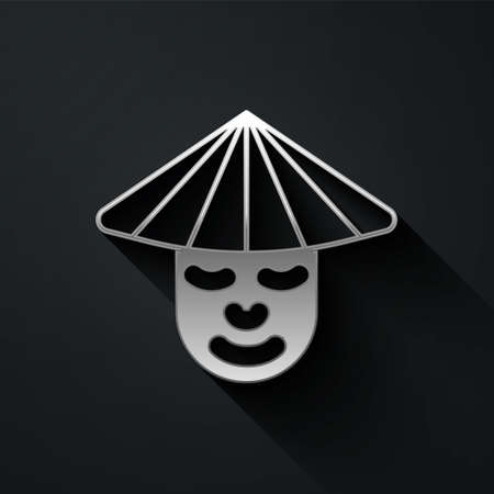 Silver Asian or Chinese conical straw hat icon isolated on black background. Chinese man. Long shadow style. Vector