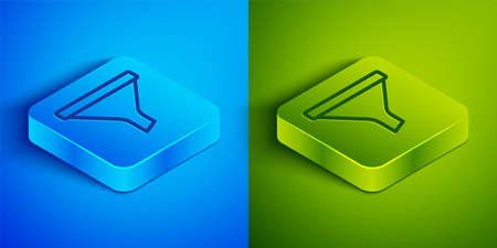 Isometric line Funnel or filter icon isolated on blue and green background. Square button. Vector