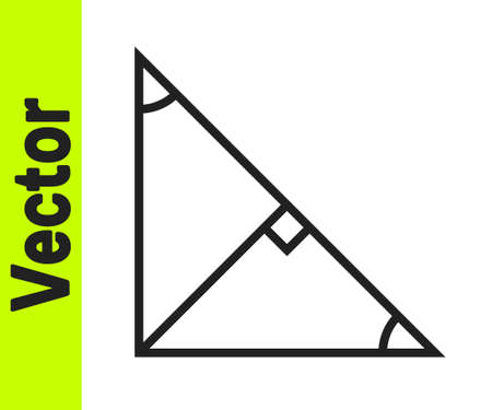 Black line Angle bisector of a triangle icon isolated on white background. Vector