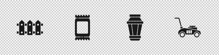 Set Garden fence wooden, Fertilizer bag, light lamp and Lawn mower icon. Vector