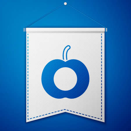 Blue Peach fruit or nectarine with leaf icon isolated on blue background. White pennant template. Vector