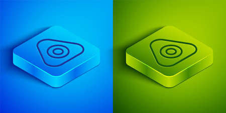 Isometric line Sewing chalk icon isolated on blue and green background. Square button. Vector