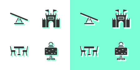 Set Magic ball on table, Seesaw, Picnic with chairs and Castle icon. Vector