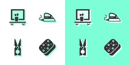 Set Sponge, Washbasin mirror, Clothes pin and Electric iron icon. Vector