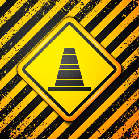 Black Traffic cone icon isolated on yellow background. Warning sign. Vector