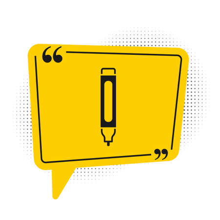 Black Marker pen icon isolated on white background. Yellow speech bubble symbol. Vector