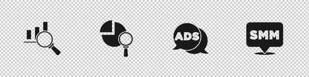Set Magnifying glass and analysis, Advertising and Social media marketing icon. Vector