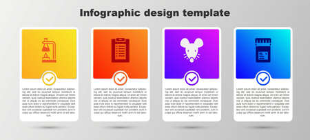 Set Test tube flask on fire, Clinical record, Experimental mouse and Jar with additives. Business infographic template. Vector