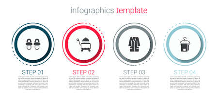 Set Hotel slippers, Covered with tray, Bathrobe and Towel on hanger. Business infographic template. Vector