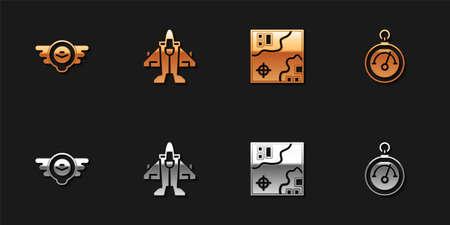 Set Aviation emblem, Jet fighter, World travel map and Barometer icon. Vector
