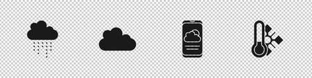 Set Cloud with rain, , Weather forecast and Meteorology thermometer icon. Vector Vector Illustration
