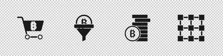 Set Shopping cart with bitcoin, Sales funnel, Bitcoin and Blockchain technology icon. Vector
