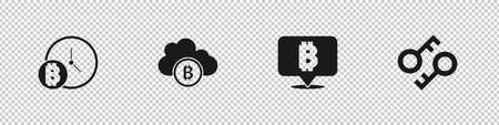Set Bitcoin with clock, Cryptocurrency cloud mining, and key icon. Vector