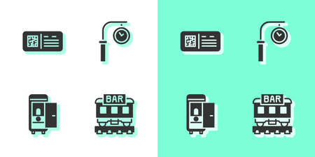 Set Restaurant train, QR code ticket, Toilet the car and Train station clock icon. Vector
