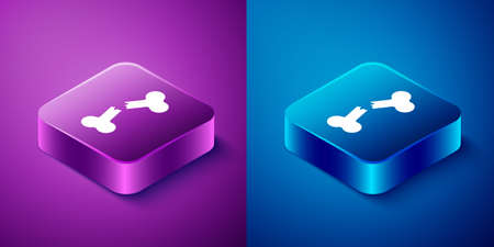 Isometric Human broken bone icon isolated on blue and purple background. Square button. Vector