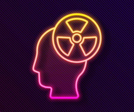 Glowing neon line Silhouette of a human head and a radiation symbol icon isolated on black background. Vector