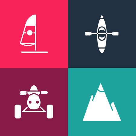 Set pop art Mountains, ATV motorcycle, Kayak canoe and Windsurfing icon. Vector