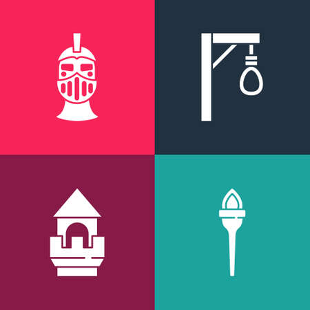 Set pop art Torch flame, Castle tower, Gallows and Medieval iron helmet icon. Vector