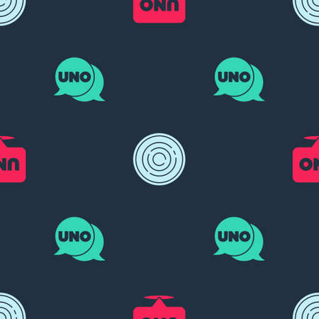 Set Uno card game, Checker chips and on seamless pattern. Vector