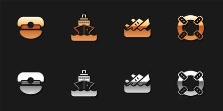Set Captain hat, Cruise ship, Sinking cruise and Lifebuoy icon. Vector
