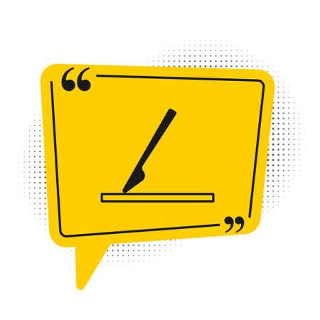 Black Medical surgery scalpel tool icon isolated on white background. Medical instrument. Yellow speech bubble symbol. Vector Ilustración de vector