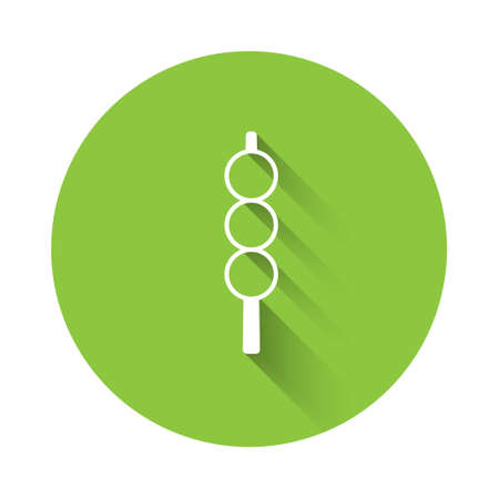 White Meatballs on wooden stick icon isolated with long shadow. Skewer with meat. Green circle button. Vector
