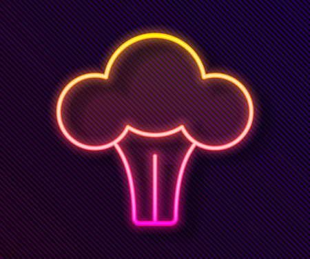 Glowing neon line Broccoli icon isolated on black background. Vector