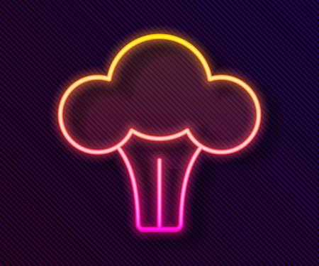 Glowing neon line Broccoli icon isolated on black background. Vector Vector Illustratie