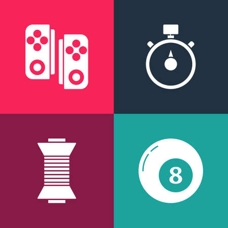 Set pop art Billiard pool snooker ball, Sewing thread on spool, Stopwatch and Gamepad icon. Vector